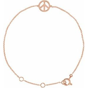"14K Rose Petite Peace Sign 5.75"" - 6.75"" Bracelet"