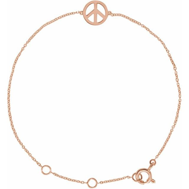 14K Rose Petite Peace Sign 5.75