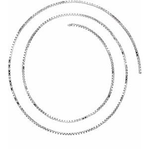 Sterling Silver 1 mm Solid Box Chain by the Inch