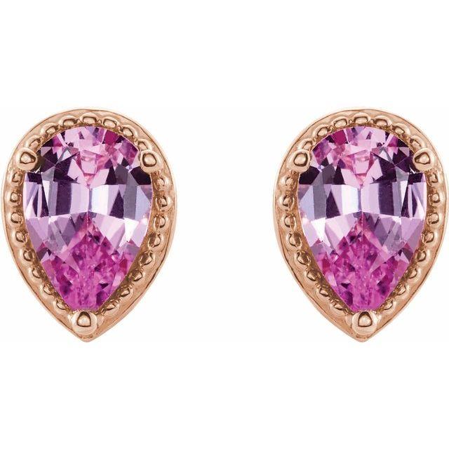 14K Rose Pink Sapphire Earrings