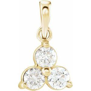 14K Yellow 1/3 CTW Diamond Three-Stone Pendant