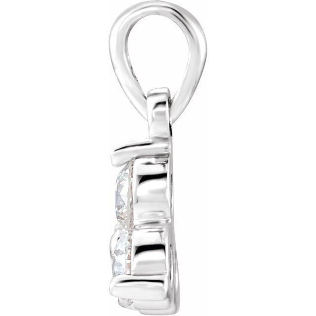 14K White 5/8 CTW Natural Diamond Three-Stone Pendant