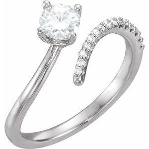 14K White 5 mm Round Forever One™ Moissanite & 1/10 CTW Diamond Ring