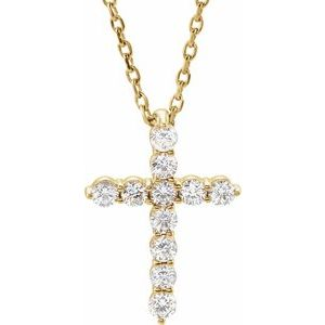 "14K Yellow 14.7x10.6 mm 1/4 CTW Diamond Cross 16-18"" Necklace"