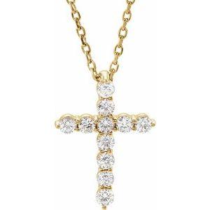 "14K Yellow 14.7x10.6 mm 1/4 CTW Diamond Cross 16-18"" Necklace"