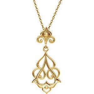 """Sterling Silver Fleur-De-Lis Decorative 18"""" Necklace"""