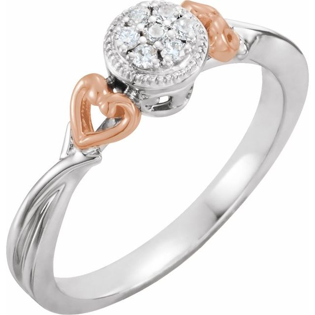10K White & Rose 1/10 CTW Diamond Promise Ring