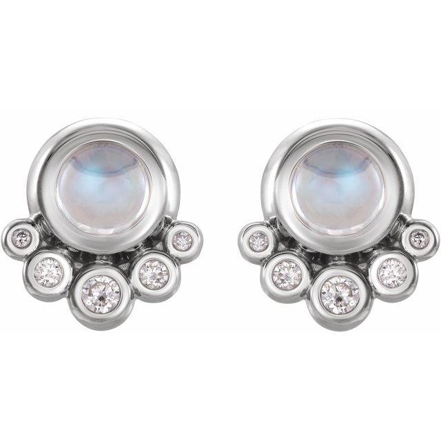 14K White Moonstone & 1/8 CTW Diamond Earrings