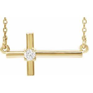 """14K Yellow .06 CTW Diamond Sideways Cross 16-18"""" Necklace"""