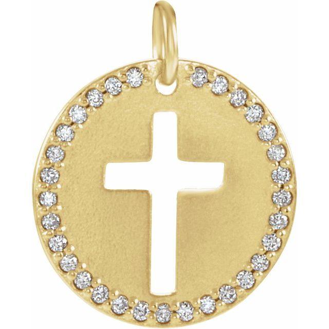 14K Yellow .08 CTW Diamond Pierced Cross Disc Pendant