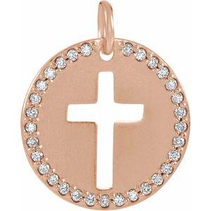 14K Rose .08 CTW Diamond Pierced Cross Disc Pendant