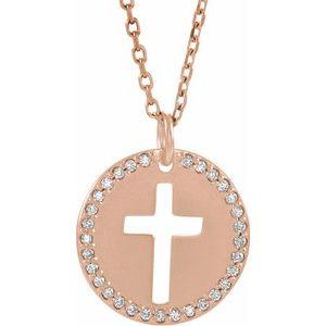 "14K Rose .07 CTW Diamond Pierced Cross Disc 18"" Necklace"