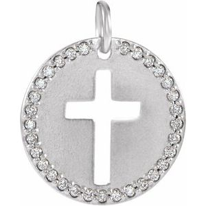 14K White .08 CTW Diamond Pierced Cross Disc Pendant