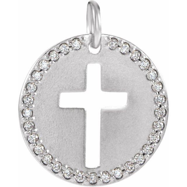 14K White .08 CTW Diamond Pierced Cross Disc Pendant
