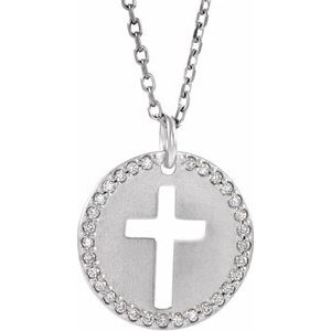 "14K White .07 CTW Diamond Pierced Cross Disc 18"" Necklace"