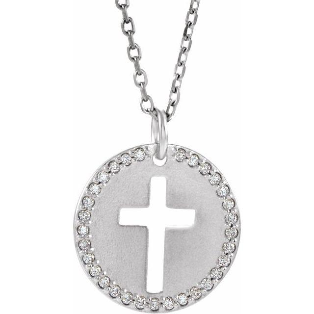 14K White .07 CTW Diamond Pierced Cross Disc 18