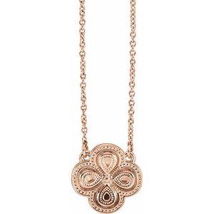 """14K Rose 18"""" Clover Necklace"""