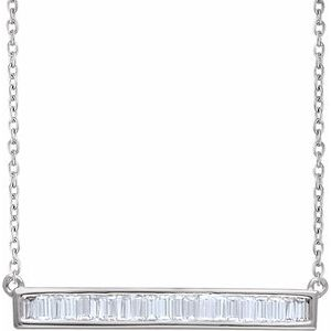 "14K White 1/2 CTW Diamond Baguette Bar 16-18"" Necklace"