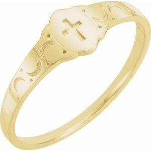 14K Yellow 5x3 mm Oval Youth Cross Signet Ring