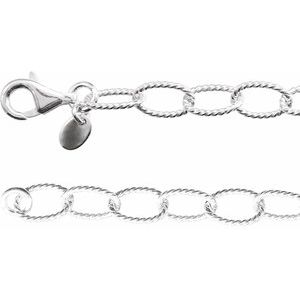 "Sterling Silver 6 mm Knurled Cable 18"" Chain"