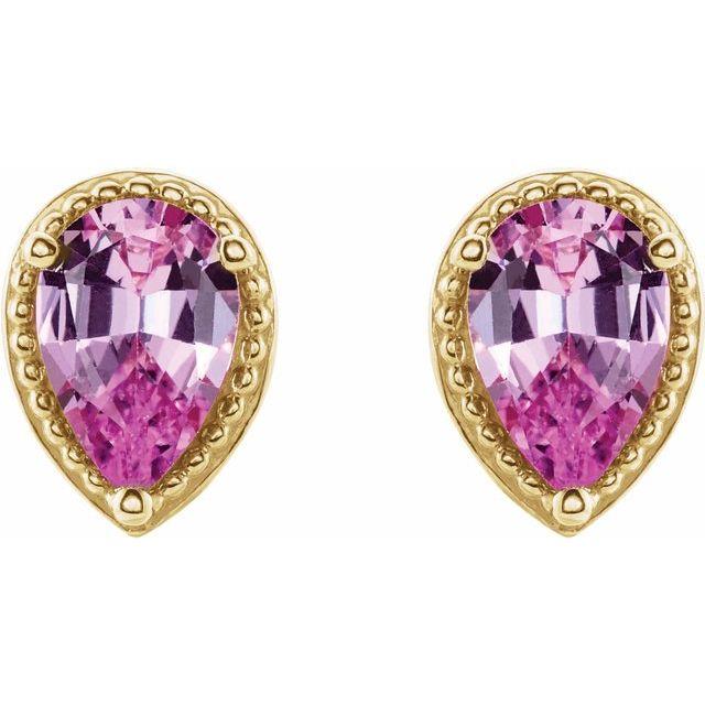 14K Yellow Pink Sapphire Earrings