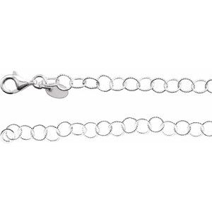 "Sterling Silver 4.6 mm Knurled Rolo 24"" Chain"
