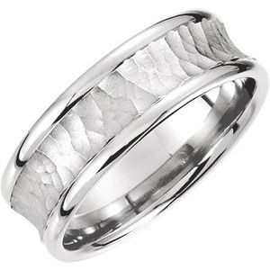 14K White 7.5 mm Concave Band with Hammer Finish Size 10.5