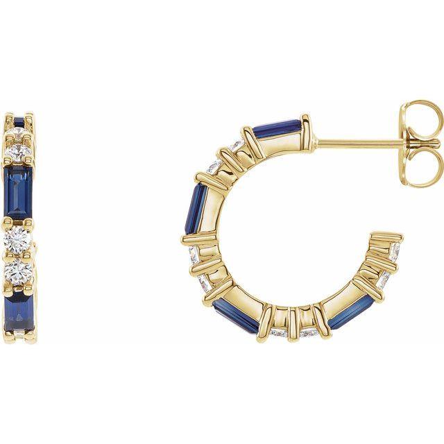 14K Yellow Blue Sapphire & 1/2 CTW Diamond Earrings