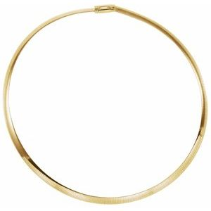 "14K Yellow/White 6 mm Two-Tone Reversible Omega 16"" Chain"