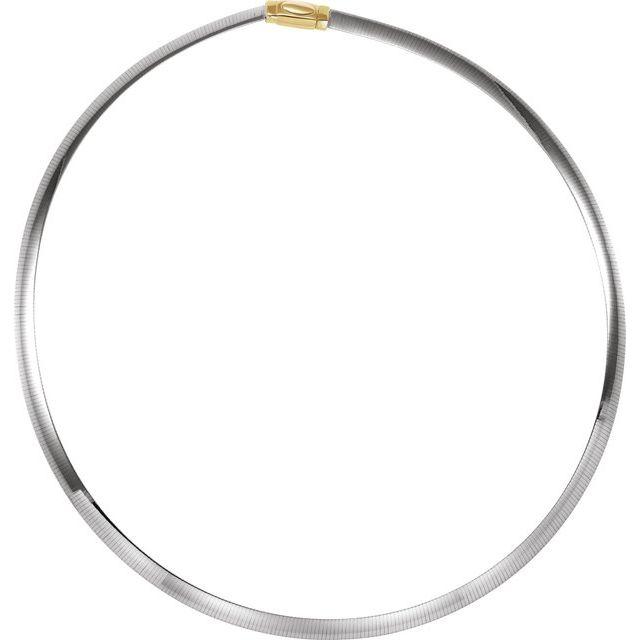14K Yellow/White 6 mm Two-Tone Reversible Omega 18