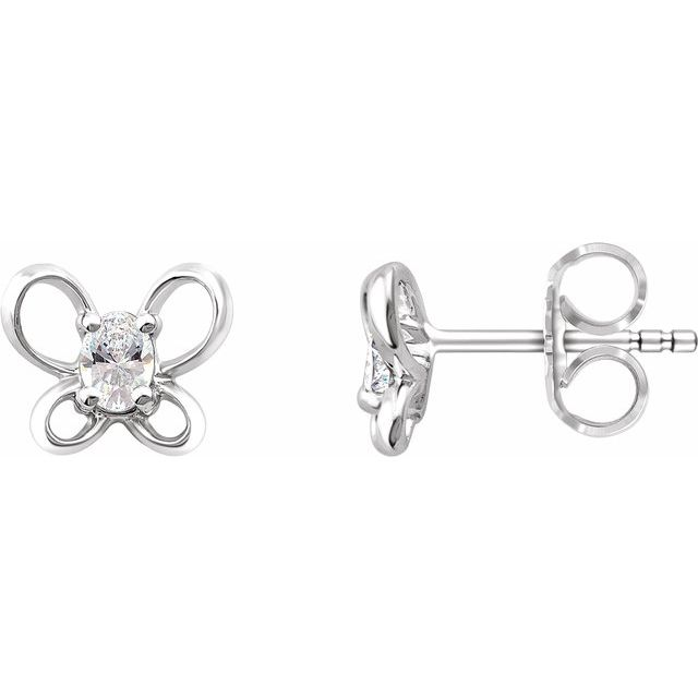 14K White 4x3 mm Oval April Youth Butterfly Birthstone Earrings