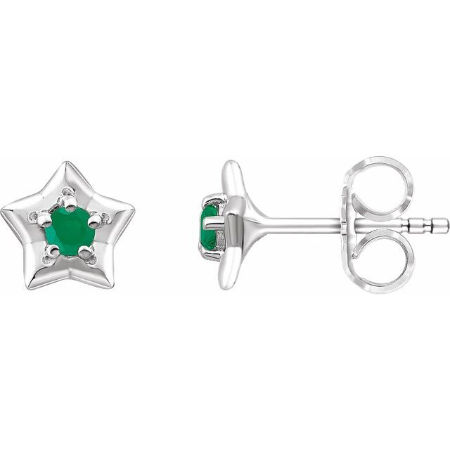 14K White 3 mm Round May Youth Star Birthstone Earrings