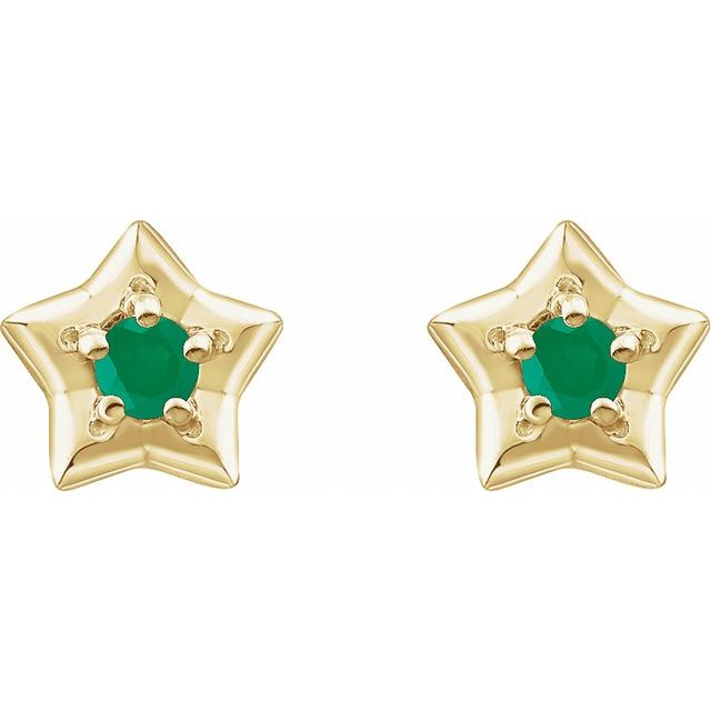 14K Yellow 3 mm Round May Youth Star Birthstone Earrings