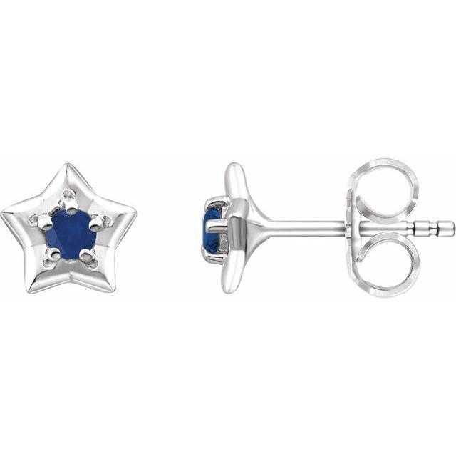 14K White 3 mm Round September Youth Star Birthstone Earrings