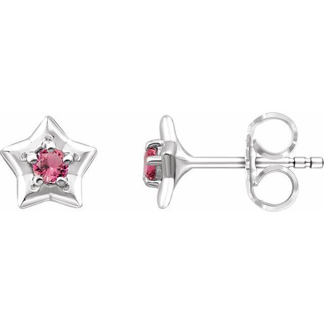 14K White 3 mm Round October Youth Star Birthstone Earrings