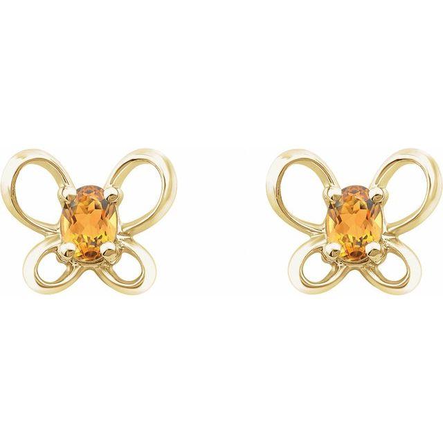 14K Yellow 4x3 mm Oval November Youth Butterfly Birthstone Earrings