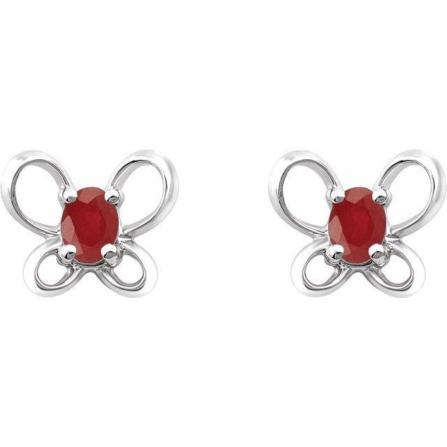 14K White 4x3 mm Oval July Youth Butterfly Birthstone Earrings
