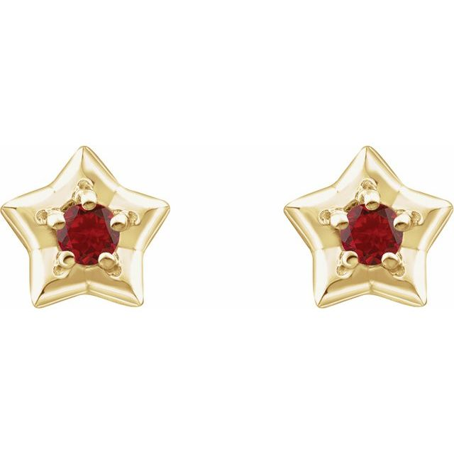 14K Yellow 3 mm Round January Youth Star Birthstone Earrings