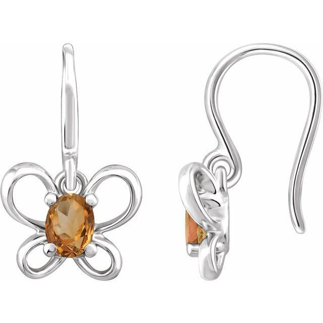 14K White 4x3 mm Oval November Youth Butterfly Birthstone Earrings