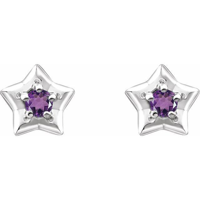 14K White 3 mm Round February Youth Star Birthstone Earrings