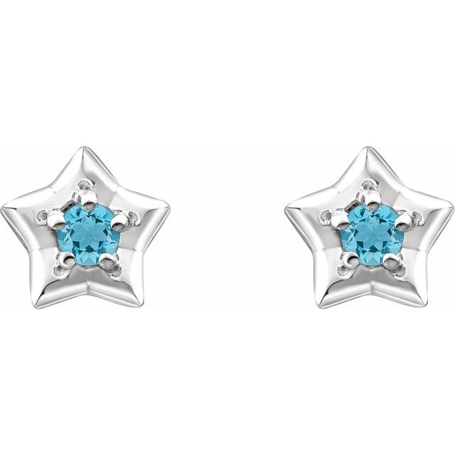 14K White 3 mm Round March Youth Star Birthstone Earrings