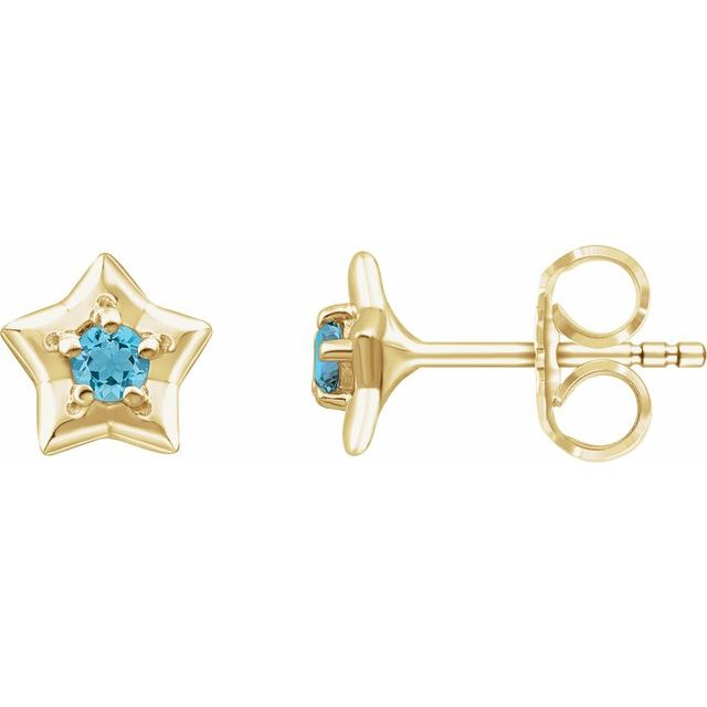 14K Yellow 3 mm Round March Youth Star Birthstone Earrings