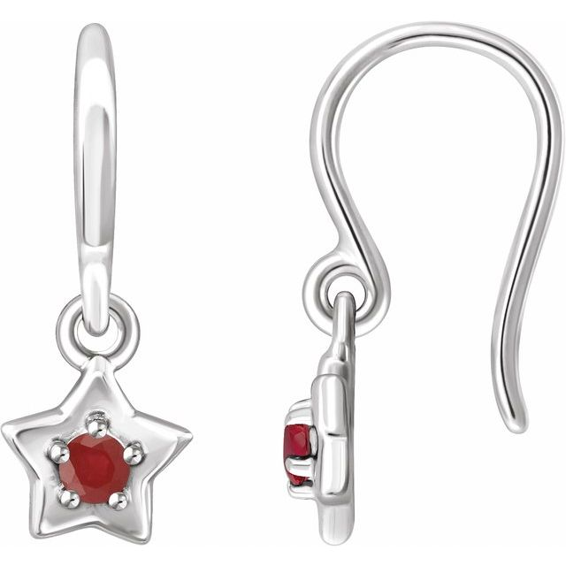 14K White 3 mm Round July Youth Star Birthstone Earrings