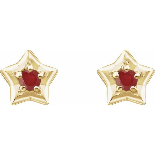 14K Yellow 3 mm Round July Youth Star Birthstone Earrings