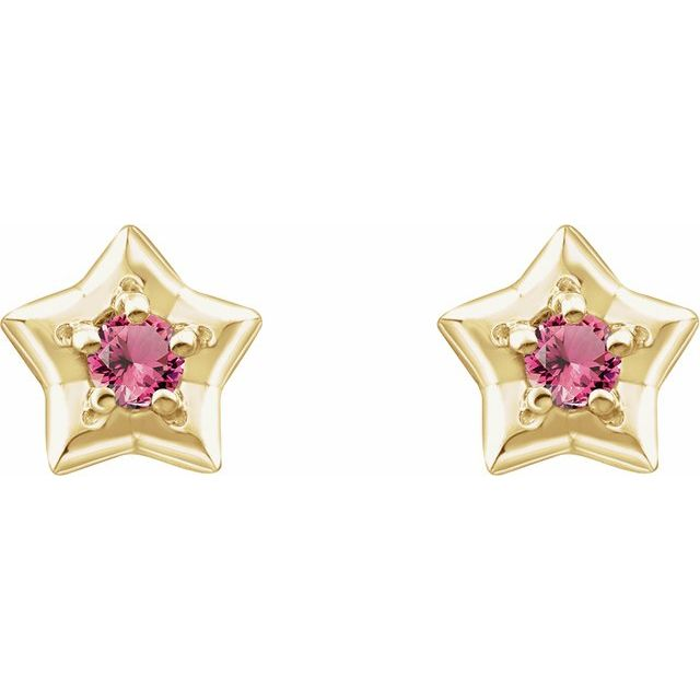 14K Yellow 3 mm Round October Youth Star Birthstone Earrings
