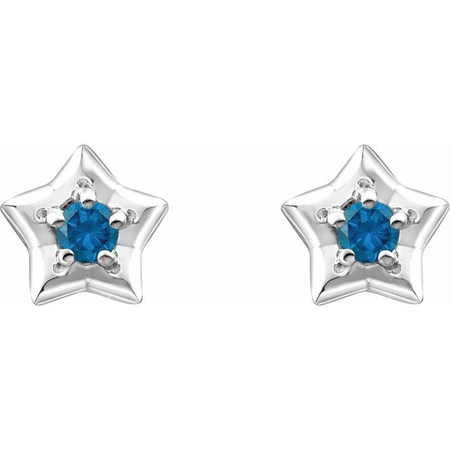 14K White 3 mm Round December Youth Star Birthstone Earrings