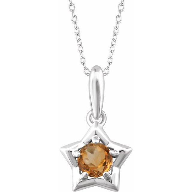 """Sterling Silver 3 mm Round November Youth Star Birthstone 15"""" Necklace"""