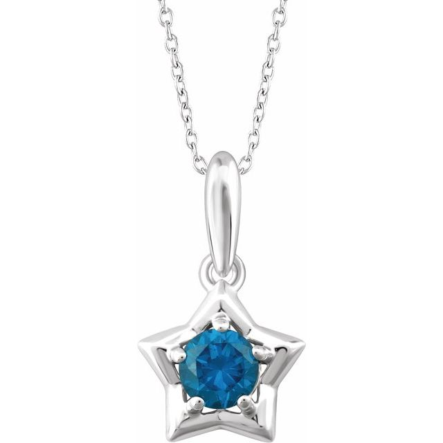 """Sterling Silver 3 mm Round December Youth Star Birthstone 15"""" Necklace"""