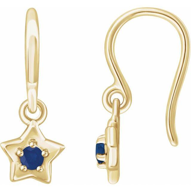 14K Yellow 3 mm Round September Youth Star Birthstone Earrings
