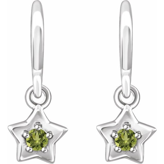 14K White 3 mm Round August Youth Star Birthstone Earrings